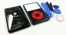 free shipping new full black housing faceplate case cover red clickwheel black button key for ipod 7th classic 160gb