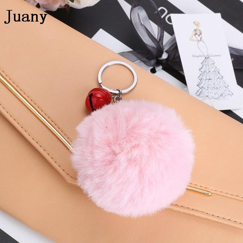 pompom key chain fluffy rabbit fur ball with bell key chain fake fur keychain women car bag key ring 16