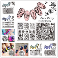 BORN PRETTY Nail Art Stamping Plate Flower Butterfly Tree Image Rectangle Round Mixed Size Stamp Template Transfer Nail Art Tool