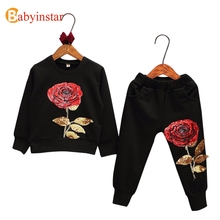 Fashion Kids Suits Floral Rose Embroidered Sequins Boys Girls Leisure Clothing Sets Baby Sports Wear Children's Sets