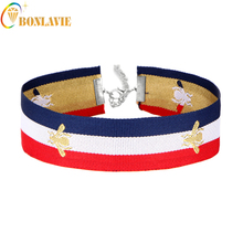 1 Pcs Bee Embroidery Red Green Stripes Bee Choker Gothic Choker Necklace For Women Big Chunky Necklace Collier 15NL8