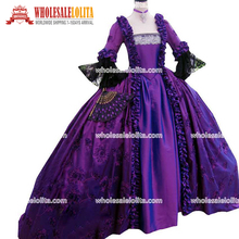 Top Sale 17 Century Purple Marie Antoinette Floor-lenght Party Wear Ball Gown Gorgeous Colonial 18th Century Taped Evening Gown