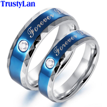TrustyLan Blue Fashion Jewelry Couple Korean Wedding Rings Trendy Vintage Stainless Ring CZ Engagement Rings For Men And Women(China)