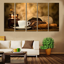 5 Panel Modern Art Canvas Print Caffe Beans Machine Cup Coffee Drink Wall Painting Old Times Room Office Decor interior No Frame
