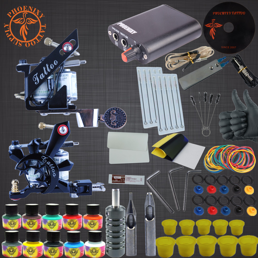 Tattoo Kit Completed Permanent Makeup 2 Machines Set Professional Tattoo Machine Set 10 Colors Tattoo Ink Sets Permanent Make Up<br>