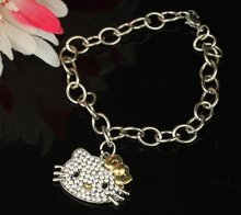 Free Shipping, new wholesale hello kitty bracelet in golden bow 3cm width with free jewelry gift ba -1pc a lot