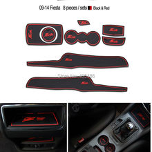 Non- slip Interior door pad/red cup mat door gate slot mat for ford fiesta 2009-2014 8 pic  a set free shipping,