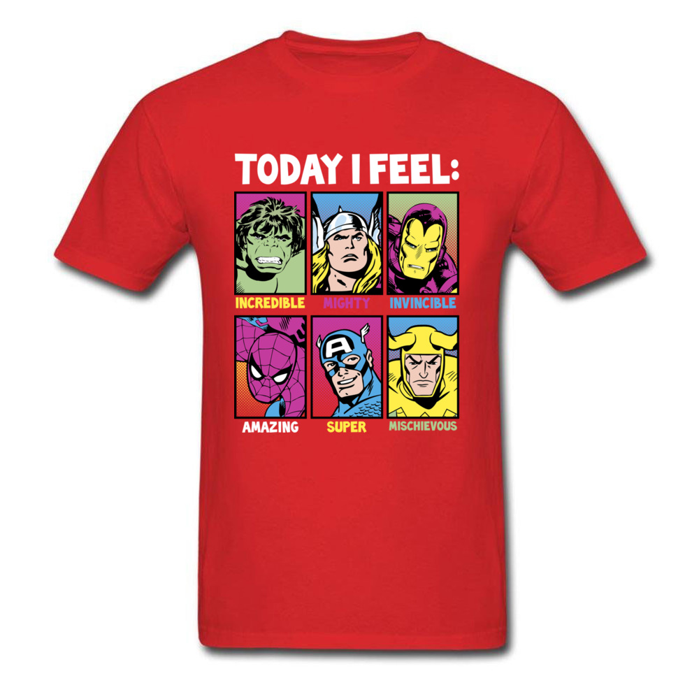 Star Wars Today I Feel Marvel Heroes T Shirts Funky Mens Summer/Autumn Tops Tees Casual Top T-shirts Crewneck 100% Cotton Fabric Today I Feel Marvel Heroes red