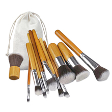 Mileegirl 11Pcs Bamboo Handle Makeup Brushes Set Foundation Powder Blending Brush Kwasten Concealer Beauty Tool Kits With Bag