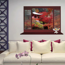 3D window view classic fashion Chinese style Red Maple Tree Park home decor wall sticker scenery living room sofa wall decals