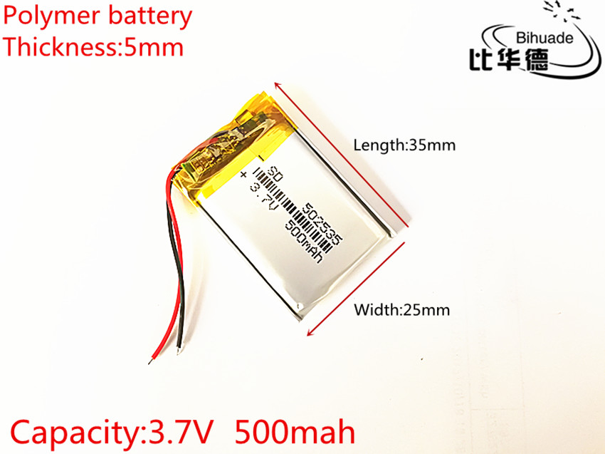 100pcs Free shipping 3.7V lithium polymer battery 052535 502535 MP4 MP5 DIY gifts / toys 500MAH For GPS PSP 3