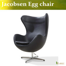 U-BEST  fiberglass shell living room lounge  chairs Classic leisure  arne jacobsen swivel egg chair in real leather