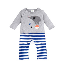New Autumn Onesie Baby Animal Infant Romper Baby Cute Elephant Kids Long Sleeve Striped Jumpsuit Newborn Costumes Roupas Meninos
