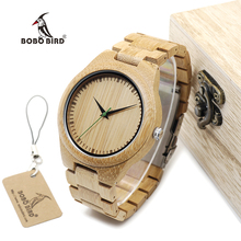 BOBO BIRD WG26 Brand Design Mens Bamboo Band Watch Green Second Pointer Quartz Watches for Men Women in Wood Gift Box