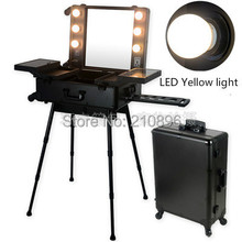 LED Yellow Light BLACK Professional Aluminum trolley Cosmetic case with lights LED Lighted cosmetic Box