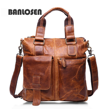 Genuine Leather Bags Fashion Men Handbags Crazy Horse Leather Crossbody Bag Men's Travel Bags Briefcase Bag for Man