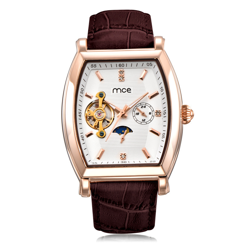 MCE Brand Men Self-wind waterproof leather strap automatic mechanical male black/white dial fashion Tourbillon watch men clock<br>
