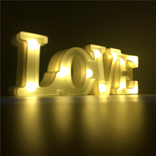 Luminaria Nightlight Battery Operated LED LOVE Letter Night Light LOVE Sign 3D Figure Decoration Lamp Wedding Birthday Light
