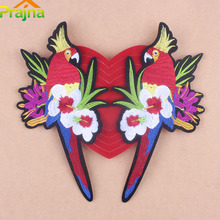 Prajna Big Parrot Embroidered Bird Patches Flower Iron On Patches Applique Sewing Logo Flamingo Stripe Clothing Rose Applique D1