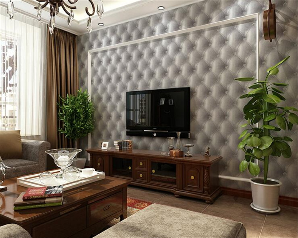 Beibehang European simple leather imitation leather soft bag 3d wallpaper living room bedroom background wallpaper for walls 3 d<br>