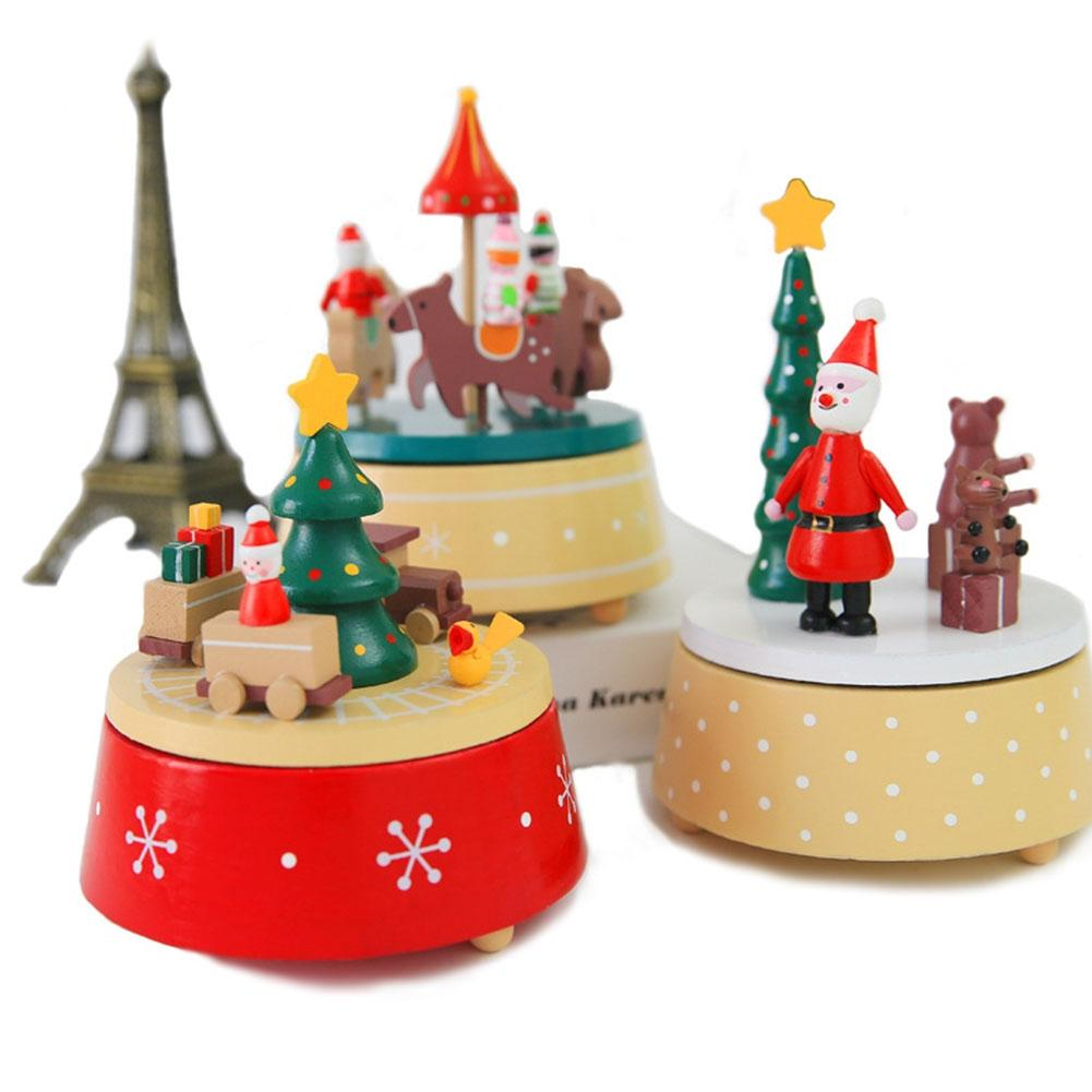AsyPets Wooden Christmas Rotating Musical Box Ornament Festival Birthday Gift-30