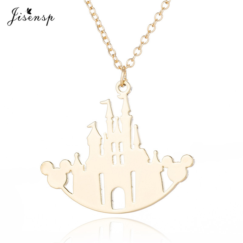 Jisensp Mickey Castle Necklace Women Cartoon Mouse Pendants Necklaces Minnie Head Necklace Jewelry Kids Christmas Gift Collares(China)
