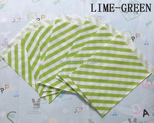 Free Shipping lime green Striped Treat Craft Bags Favor Food Paper Bags Party Wedding Birthday Decoration 50pcs(China)