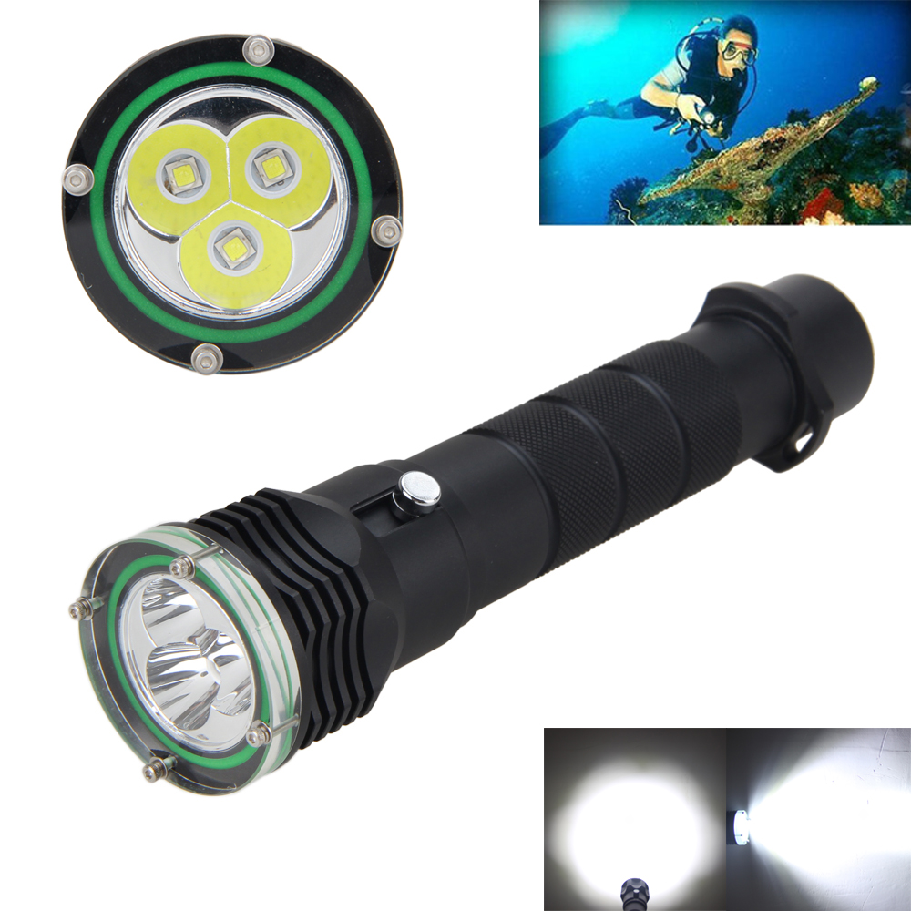 Underwater 100M 6000LM 3x XM-L2 LED Scuba Diving Flashlight for 18650/26650 Torch<br>