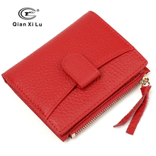 2017 New Cowhide Leather Slim Wallet Women Coin Purse Zipper Mini Wallets Brand Box Pack 4 color(China)