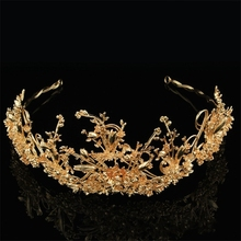 Sweet Hair Ornaments Bridal Hair Crown Jewelry Gold Branches Headdress Hair Hoop Crown Wedding Dress Accessories FN-G013