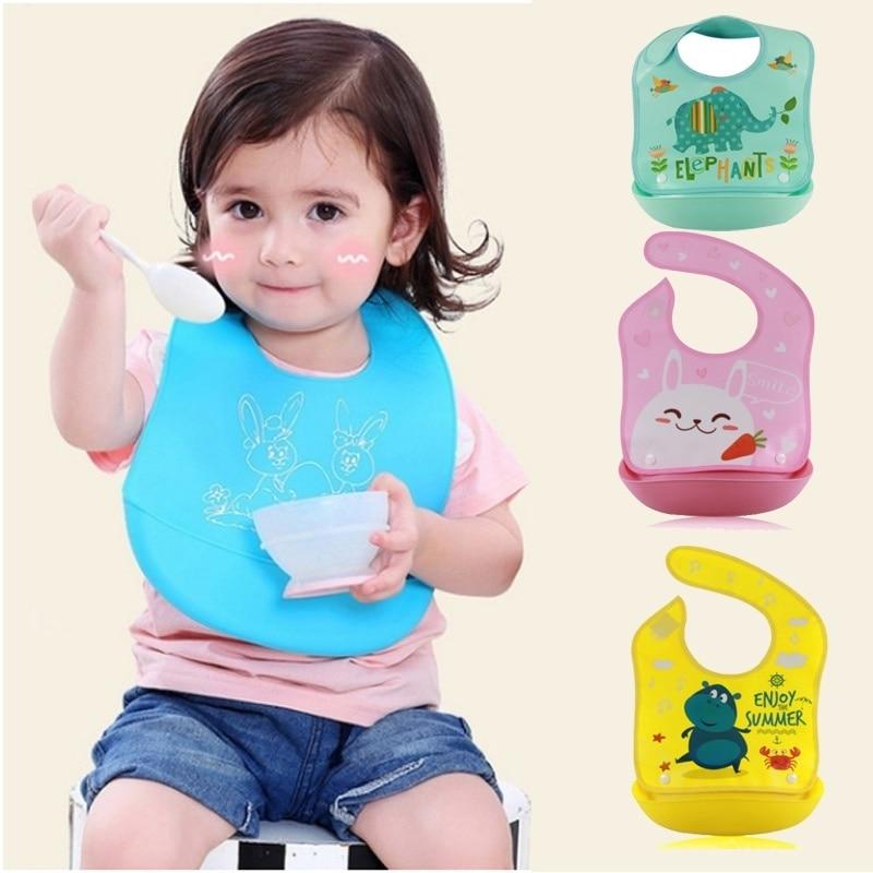 Baby Soft Waterproof Silicone bibs Easy Clean Most Convenient BEST feeding BIB