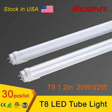 Stock in USA t8 led tube light 1200mm 20w  22w 4ft, smd 2835 led fluorescent tube 110v 220v,  FEDEX Free Shipping, 30pcs/lot