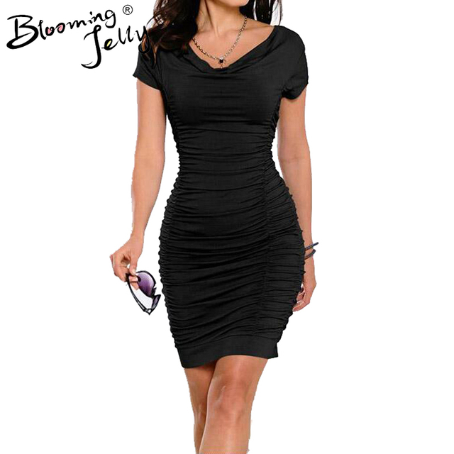 Blooming Jelly Cowl Neck Ruched Draped Dress Fashion Black Women Work Dress Bodycon Business Office Elegant