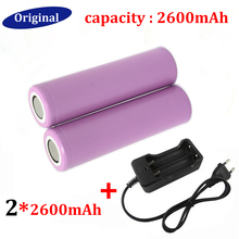 Top Quality 2PCS Battery 18650 Battery Lithium battery Charger 2600mAh 3.7v Rechargeable Battery +  EU Travel Charger