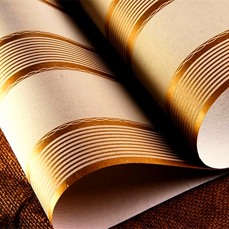 Free Shipping 10052 Gold Color Roman Stripe Wallpaper For Living room Bedroom European Style Wallpaper Wall Paper Roll<br><br>Aliexpress