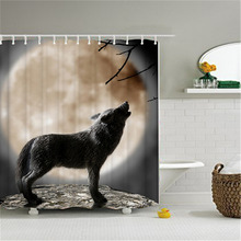 Shower Curtain Polyester Waterproof Creative Howling Wolf Under Moon Pattern 180cm*180cm/71*71'' Bathroom Curtain Decor Art(China)