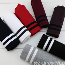 Buulqo New arrival 15-16cm Cotton knitted elastic strip cuff fabric DIY sewing uniform sweater cotton fabric(China)