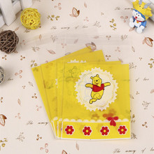 50pcs/lot cute Pooh Candy cookie Bags Self-adhesive Biscuit Packaging Bag 10*11cm plus 4.3cm Event & Party Supplies