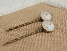 Girls Hearts Glass Cabochon Hairpins Preppy Style Bronze Hair Clips Handmade Vintage Jewelry fq021