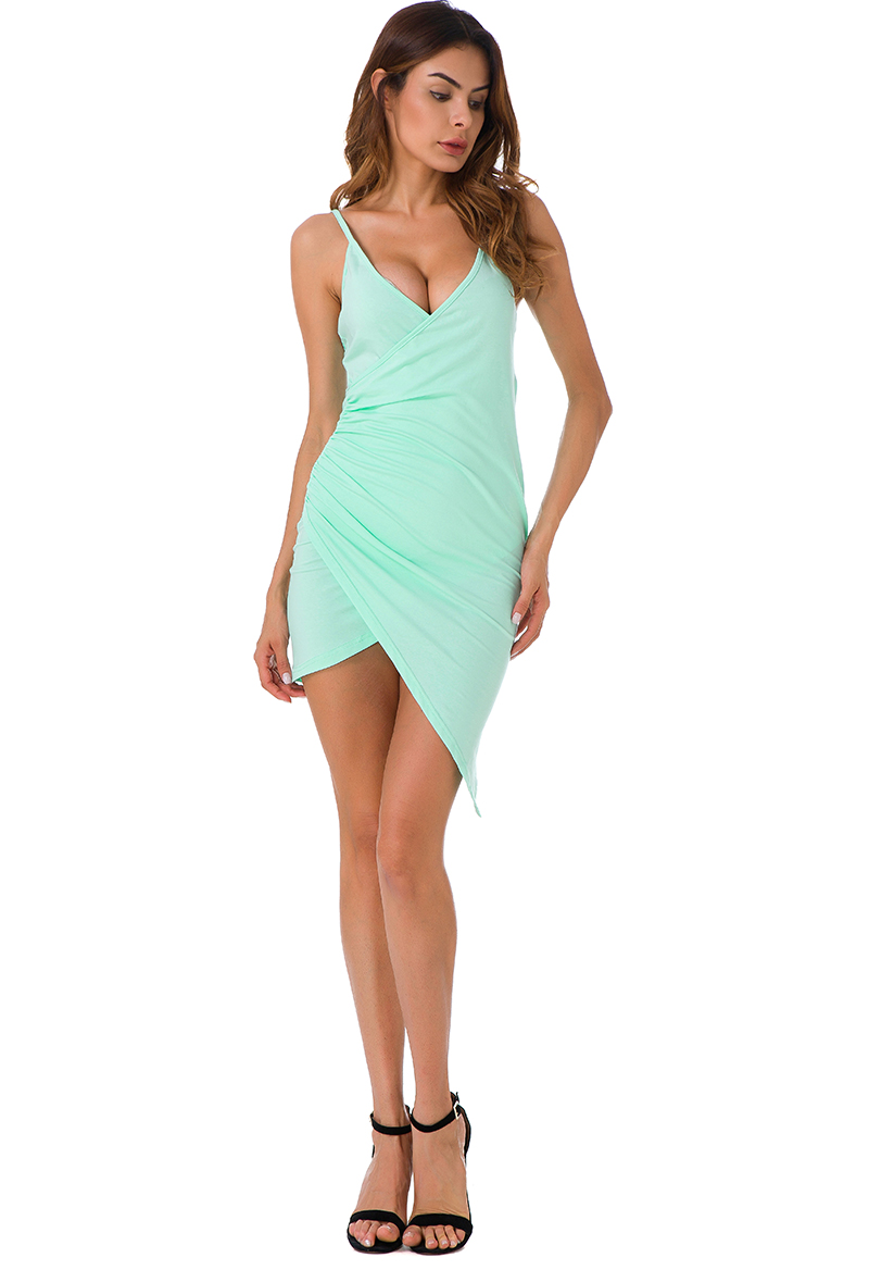 Forefair Sexy Ruched Cross V- Neck Strap Dress 2017 Summer Light Green Cotton Dress Women Backless Bodycon Party Dresses 6