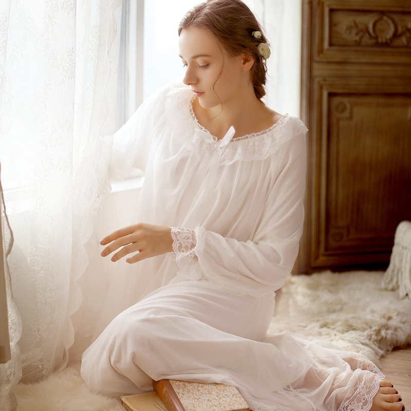 2018 New Pregnant Women Long Sleeved Cotton Nightgown Retro Palace Long Nightdress Women Sweet Home Cloth Cotton Sleepwear CC630<br>