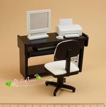 Mini dollhouse Model Accessories Black & White Mini Computer Desk Kit Simple and modern