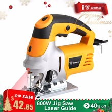 DEKO Laser Jig Saw, Variable Speed Includes 6pcs Blades, Metal Ruler, Dust Pipe, Allen Wrench Electric Saw Tools(China)