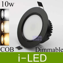 Black shell CREE cob 10w led ceiling downlight dimmable recessed led spot light indoor led light lighting 110-240v or 12v CE UL