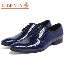 GRIMENTIN brand crocodile style mens dress shoes patent leather handmade red blue wedding male shoes