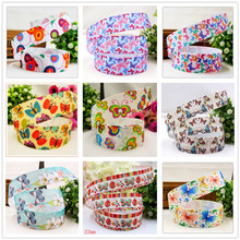 FREE SHIPPING hot sale 22mm Autumn Butterfly Printed Grosgrain Ribbon, Clothing accessories, DIY handmade materials