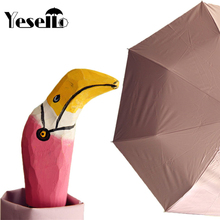Yesello Cute flamingos Windproof Rain and Parasol Folding Women kids Pink Animal Hand-Carved Wood Umbrella(China)