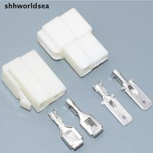 shhworldsea 50Set 6.3mm 2 pin Crimp Terminal Female Spade Connector + Male Spade Connector + Case socket plug for Car Motorcycle