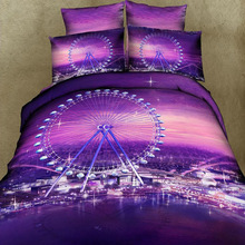 3D Ferris Wheel Night City Skyline Purple Bedding Set Queen Duvet Cover Bed Sheet Pillowcase,100% Cotton Bedroom Textiles 4pcs(China)