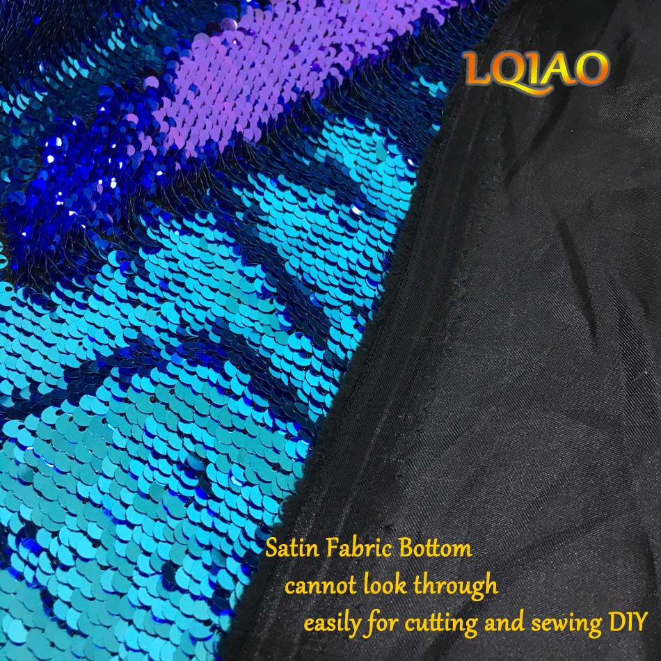 Turquoise Purple Sequin Fabric-010